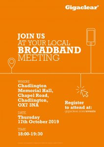 Gigaclear broadband residents' meeting @ Chadlington Memorial Hall | Chadlington | England | United Kingdom