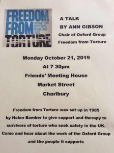 'The Work of Freedom from Torture' talk @ Friends Meeting House | Charlbury | England | United Kingdom
