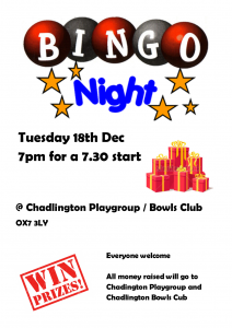 Playgroup & Bowls Club Bingo Night @ Chadlington Bowls Club | Chadlington | England | United Kingdom