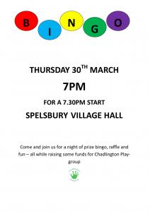 Chadlington Playgroup Prize Bingo @ Spelsbury war memorial village hall